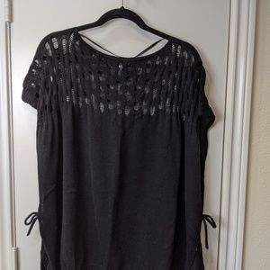 Vera Wang Black Sweater Poncho / OS
